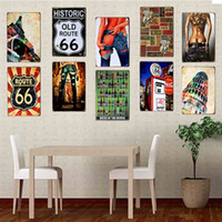 abstract wall painting designs - Wall Stickers Retro Metal Plate Murals Decorative Painting Cafe Bar Queen Creative American Country Wall Decoration Bar Accessoriese GJ10