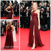 Wholesale Blake Lively Burgund Red Carpet Evening Dress Elegant Long Prom Party Dress Formal Celebrity Inspired Event Gown Plus Size vestido de festa