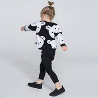 Wholesale INS New Spring Autumn Girls Boys Cute Bear Sweaters Children Double Layer Cotton Pullover Kids Baby Toddlers Infants Warm Jumpers Sweaters