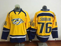 Wholesale 2016 Latest Nashville Predators PK Subban Ice Hockey Jerseys Yellow P K P K Subban Jersey Men Fashion Team Color All Stitched Quality