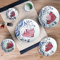 Wholesale Hand Painted ceramics Japanese style rice steak plate western food Creative Fish plate tableware set cartoon pictures