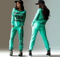 Wholesale New Sportwear Tracksuit Women Letter Pink Print Track Suit Hoodies Sweatshirt Pant Sportswear Costume pc Set Woman Brand