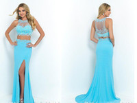 Wholesale Long Blush Chiffon Gowns - 2016 Custom Made Two Piece Prom Dresses Sky Blue Chiffon Sheer Neck Long Sheath Evening Party Gowns 2 Pieces Vestidos De Fiesta Blush Dress