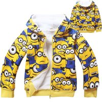 Wholesale 2016 New Arrival Boys amp Girls Winter Coral Fleece Minions Hoodies Kids Brand Cartoon Hooded Clothes Children Sweatshirts LC440