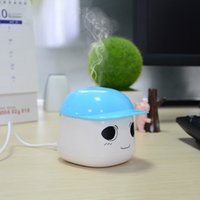 Wholesale Two Tones Portable USB cute Mini Humidifier Air Purifier for Office Bedroom white and blue high quality