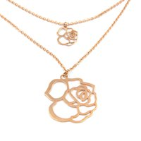 beautiful sweaters for women - Beautiful Gold Plating L Stainless Steel Double Rose Pendant Necklace Sweater Chain Jewelry for Women HaNe0014