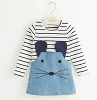 Summer Knee-Length 100% Cotton New 2017 Striped Patchwork Character Girl Dresses Long Sleeve Cute Mouse Children Clothing Kids Girls Dress Denim Kids Clothes