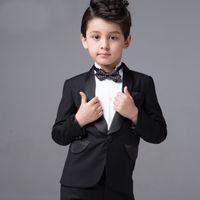 Wholesale CHENLVXIE Baby Boy Kid Black Bow Tie Gentleman Suit boys wear for wedding Infant Long sleeve Clothing Formal Suit