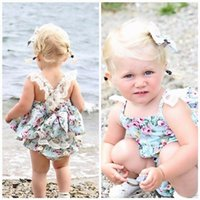 baby diaper shirts - 2016 Ins Baby girl kids toddler Summer piece set outfits Plaid Lace floral Dress romper jumper tops shirt bloomers diaper covers shorts
