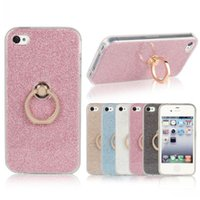 apple patches - IPhone4 ring buckle rotating flash powder patch mobile phone protective sleeve soft cover Apple mobile phone sets of mobile phone shell
