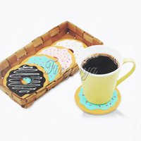 beer mat coaster - 4PCS Set Round Shape Donut Coasters Multicolor Thermal Insulation Drink Beer Beverage Coffee Cup Mats Silicone Placement Cup Cushion Holder