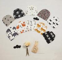 Wholesale 10 Style Kids INS Cotton Hats Children Fashion Cartoon Caps INS Batman Fox Beanies Panda Tiger Hats Winter Printed Baby Caps K7145