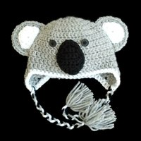 baby koala photos - Grey Koala Infant Animal Hat Pure Handmade Knit Crochet Baby Boy Girl Earflap Hat with Braids Newborn Toddler Photo Prop