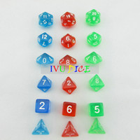 Wholesale 18pcs DND Table BOARD GAME Dungeons Dragons number dice Color Transparent RED GREEN BLUE Party Children dices WITH BAG IVU