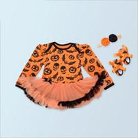 bebe lace dress - Skull Pumpkin Orange Baby Halloween Costumes Long Sleeve Baby Girl Romper Dress Lace Tutu Jumpsuit Bebe Newborn Clothing