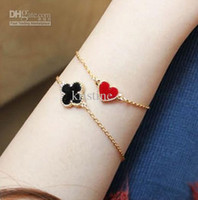 arrival clovers - Korea fashion enamel sweet clovers butterfly peach heart bracelet new arrival fashion bangle drop shipping