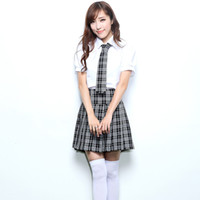 high school uniforms - Fashion British Style Costume For Women Korean Japanese Junior High School Cosplay Girls Uniform Plaid Female Skirt Suits