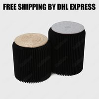 Wholesale H35xDia34cm Novel Innovation Funiture Pop Paper Stools Indoor Party Table Study room Waterproof Accordion Style Kraft Height quot Black