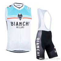 bianchi kit - Cycling Jerseys Set Bianchi Sleeveless Men Bicycle Clothing Blue White With Padded Bib None Bib Pants High Elastic Spandex Cycling Kits