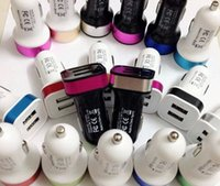 Wholesale 2 A mha Dual USB Car Charger V Dual Port car Chargers for Iphone S S Samsung S3 S4 S5 Note Cigarette Lighter