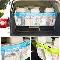 Wholesale Folding Luggage Bag Car Trunk Organizer Car Seat Back Storage Mesh Bag Back Folding Zakka Bags Auto cm cm