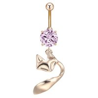 bell gauge - AAA Zircon Jewelry Belly Button Ring Animal Fox with Gems Navel Ring L Surgical Steel Gauge