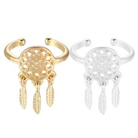 Cheap New dreamcatcher jewelry silver and gold plated indian Dream catchers midi finger ring for women girl christmas gift
