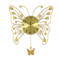 Wholesale 1pcs Golden butterfly shape quartz clock Fashionable sitting room swing wall clock Modern creative bedroom mute wall clock
