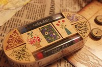 Wholesale Freeshipping NEW Classical flower wooden stamp set gift box Multi purpose set ink pad pen