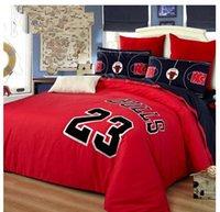 basketball comforter sets - Embroidery Red Black Cotton kids Boys basketball Fans bedding sets team Queen king duvet quilt cover designer bed sets