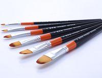 Wholesale set red bar industrial nylon flat head oil paints watercolor pen gouache brush propylene paint brushes