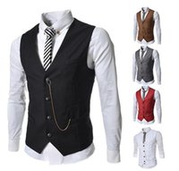 Wholesale New cheap vests for men business casual slim fit mens vest sleeveless suits vests white black waistcoat Personality chain men s clothing