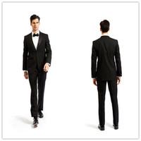 Wholesale Online Shopping New Coat Pants SU208 Customize Smoking Casamento Mens Formal Black Wedding Suits Tuxedo World DHL