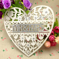 Wholesale wedding decoration white wood heart wedding sign mr mrs cm Wedding Party Decoration supplies Laser Cut Romance Love Heart