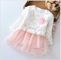 american lighting sweaters - 2016 New Autumn Baby Girl Clothing Sets Cute Girls Sweater Long Sleeve Lace Tulle Dress Set Kids Princess Suits Children Outfits