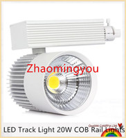 Wholesale 1pcs Aluminum LED Track Light W COB Rail Lights Spotlight Equal W Halogen Lamp AC85 V Warm Cold White Spot Lamp