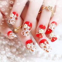 Wholesale 24 Fashion Long Full Cover False Nails French Ellipse Red Wine Oblique Leopard Fake Nails on The Patch For Party Office