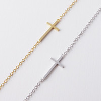 Wholesale 10pcs Gold Silver Simple Sideways Cross Charm Bracelet Horizon Faith Christian Cross Bracelet Jewelry B9
