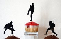 baseball birthday party supplies - glitter baseball player Silhouette Cupcake Toppers Party Picks baby shower wedding birthday toothpicks decor