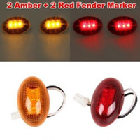 amber strobe light kit - For Ford F350 Amber Red Side Fender Marker Dually Bed LED Light Kit yy047