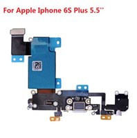 Wholesale 5 inch White Gray Headphone Jack Dock Connector Charging Port Flex Cable with Microphone For Iphone S Plus