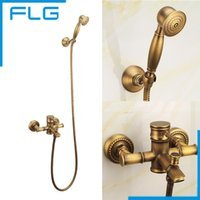 antique brass bathroom lighting - Bathroom Bath Wall Mounted Hand Held Antique Brass Shower Head Kit Shower Faucet Sets FLG40004A