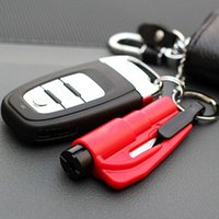 Wholesale 1PC Car Styling Pocket Auto Emergency Escape Rescue Tool Glass Window Breaking Safety Hammer with Keychain Seat Belt Cutter Rated bas