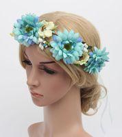 Wholesale 2016 Women Bride Flower Headband Floral Head Wreath Women Wedding Headbands Hair Garlands Bohemia Beach Flower Hair Bands Hair Accessories