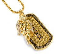 angels gold gifts - 2016 Hip Hop Jewelry K Real Gold Plated Popcorn Chain Micro Angel Piece Wind Full Crystal Pendant tag Dog Necklace Jewelry J1056