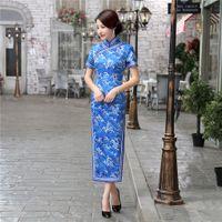 Wholesale Charming Retro Chinese Women Autumn Winter Velour Cheongsam Dress QiPao Long Party Wear Cheongsams Dresses for Women Lady