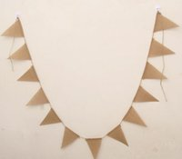 banner photography - 3m Vintage Jute Hessian Burlap Bunting Banner Wedding party Photography Props Decoration Banner Flags