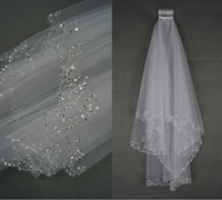 Wholesale New T White Ivory Elbow Beaded Edge Pearl Sequins Wedding Bridal Veil With Comb Bridal Veils Long Veils