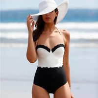 bandeau tankini bathing suits - Sexy Women White Black Tankini Halter One Piece Swimsuits Push Up Bandeau Bikini Monokini Beach Swimwear Bathing Suits SJ15326