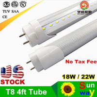 Wholesale Stock in US ft mm T8 Led Tube Lights High Super Bright W W W Warm Cold White Fluorescent Tubes Bulbs AC85 V FCC